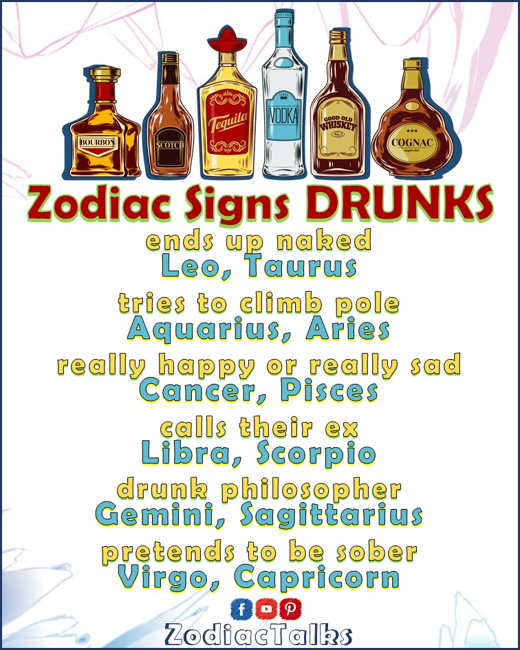 ZODIAC SIGNS - HOW THEY ACT WHEN DRUNK
