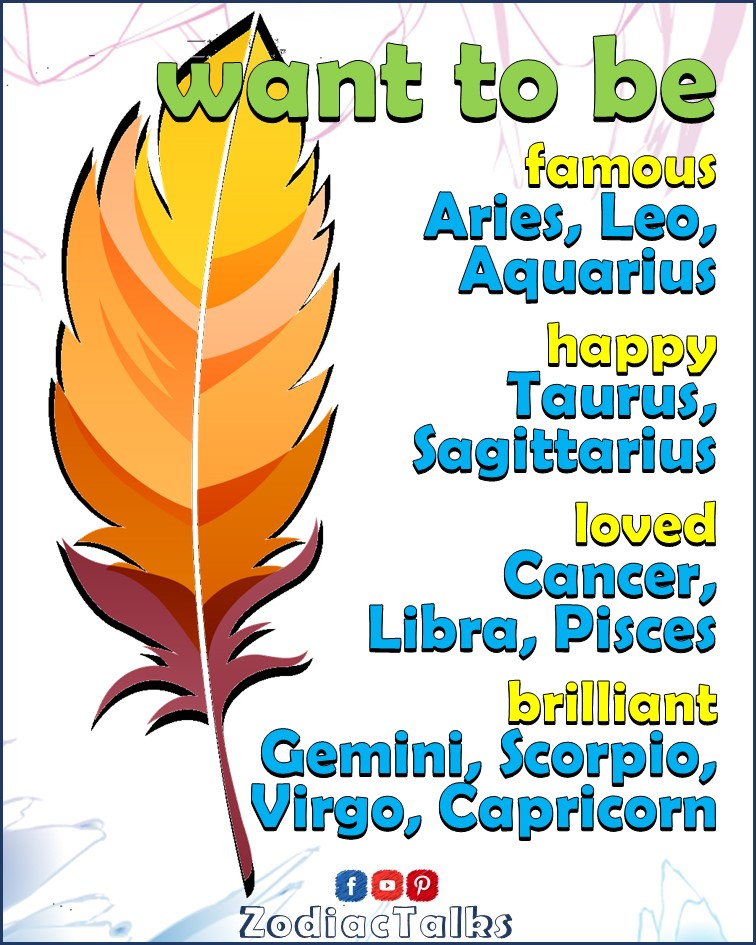 Zodiac Signs - what they want to be