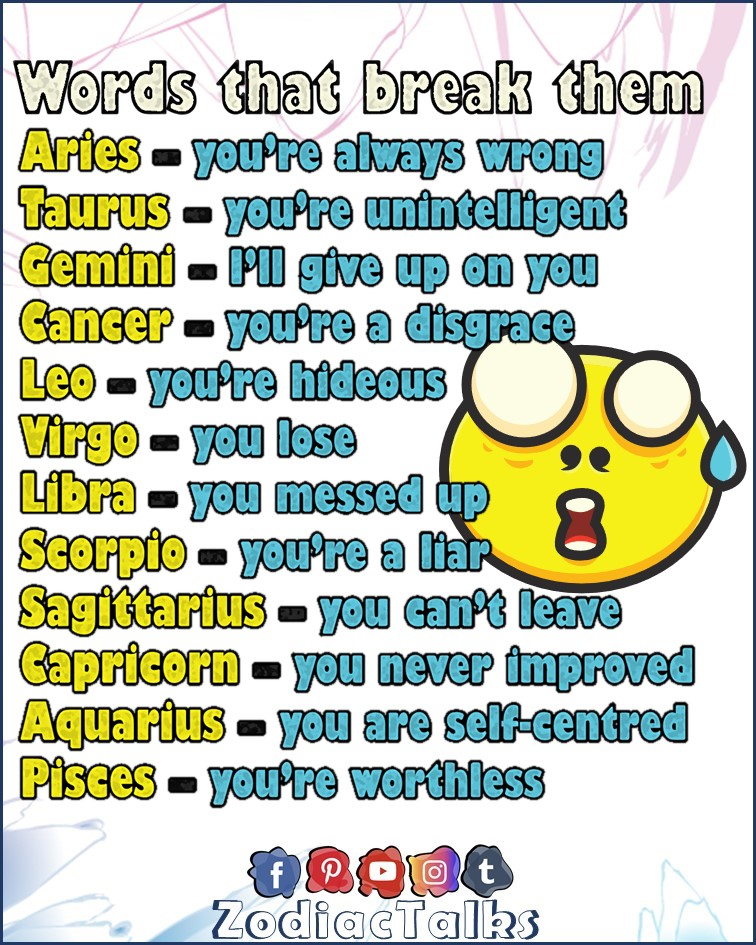 Zodiac Signs and words that break them