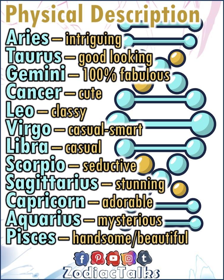 Zodiac Signs physical description