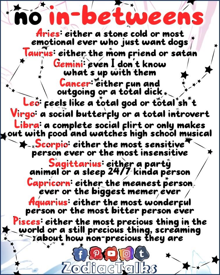 Zodiac Signs as no in-betweeners