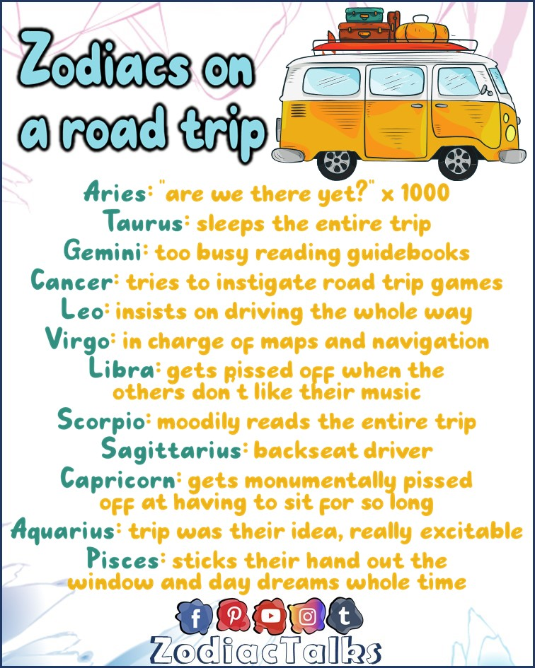 Zodiac Signs on a road trip