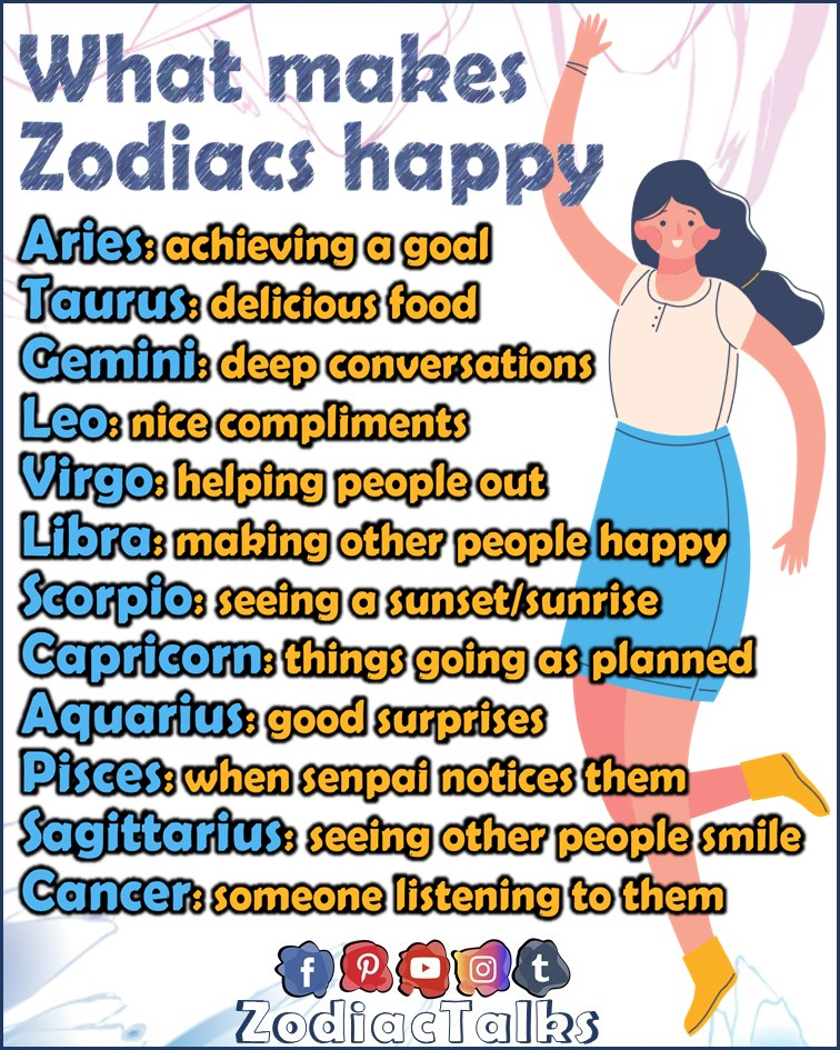 Zodiac Signs and what makes them happy