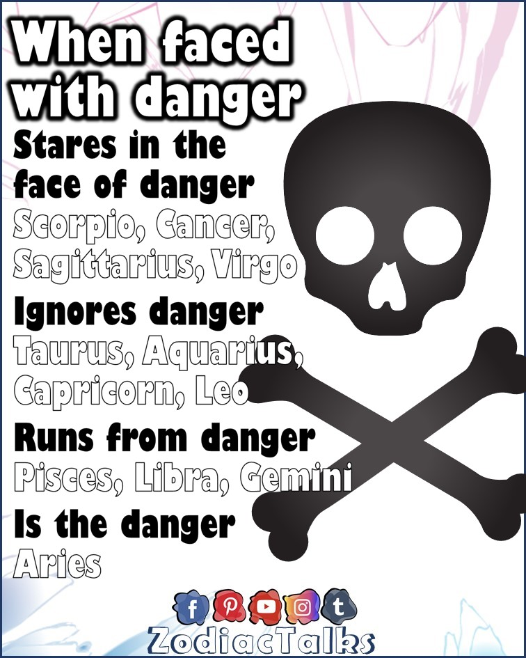 Zodiac Signs when faced with danger