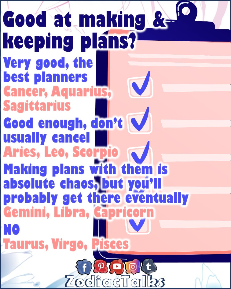 Zodiac Signs and making and keeping plans