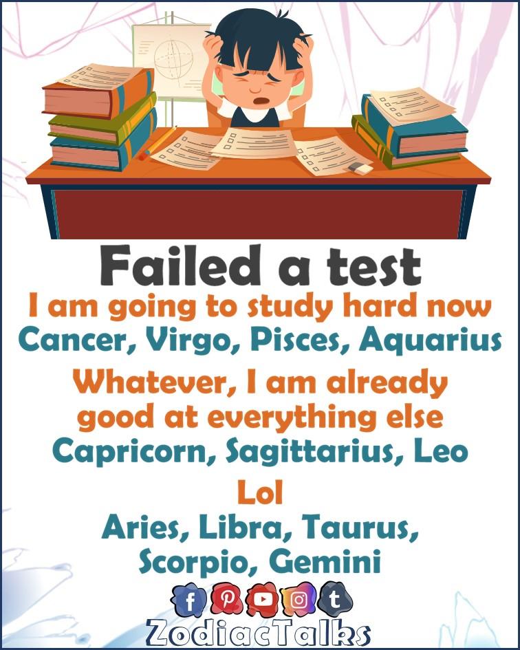 Zodiac Signs when failed a test