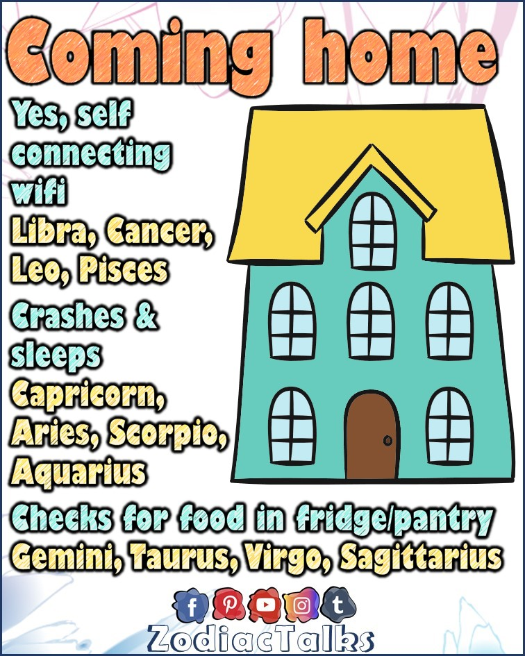 Zodiac Signs and coming home