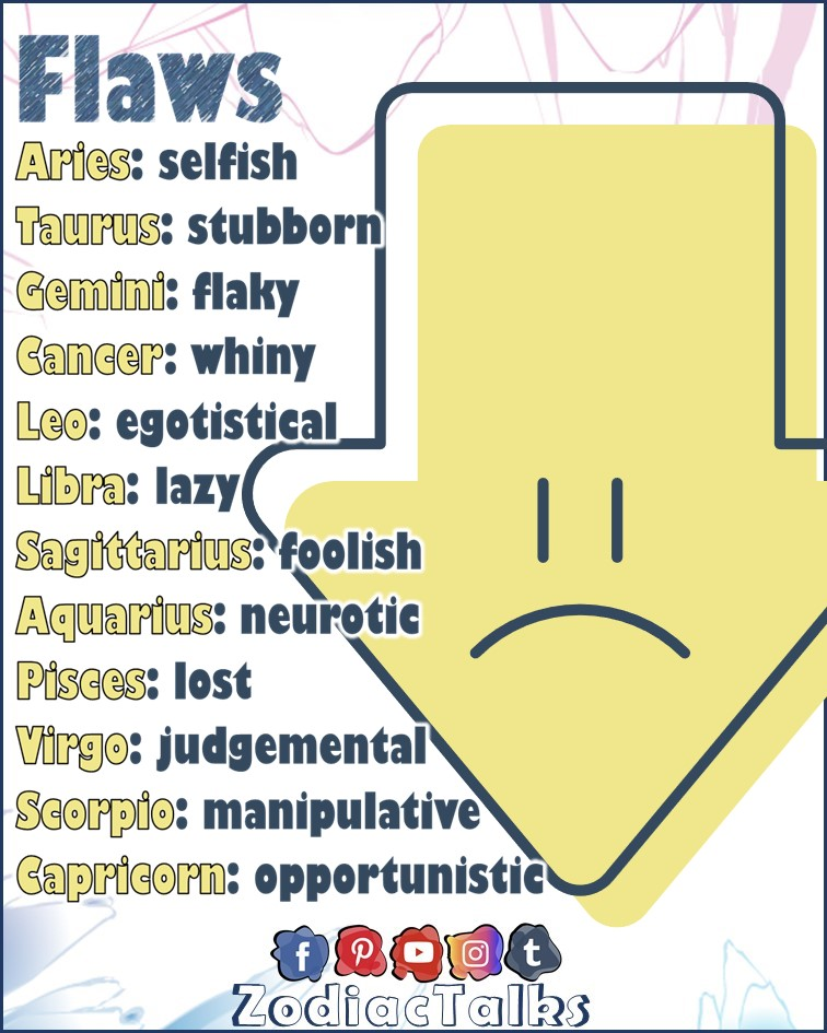 Zodiac Signs and flaws