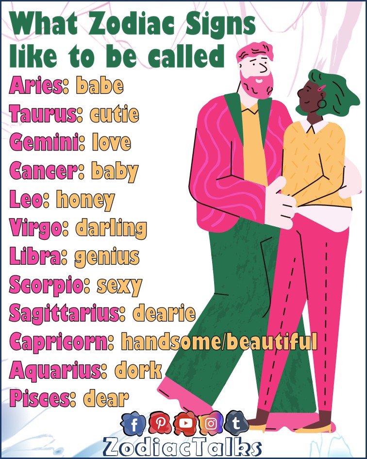 Zodiac Signs and what they like to be called