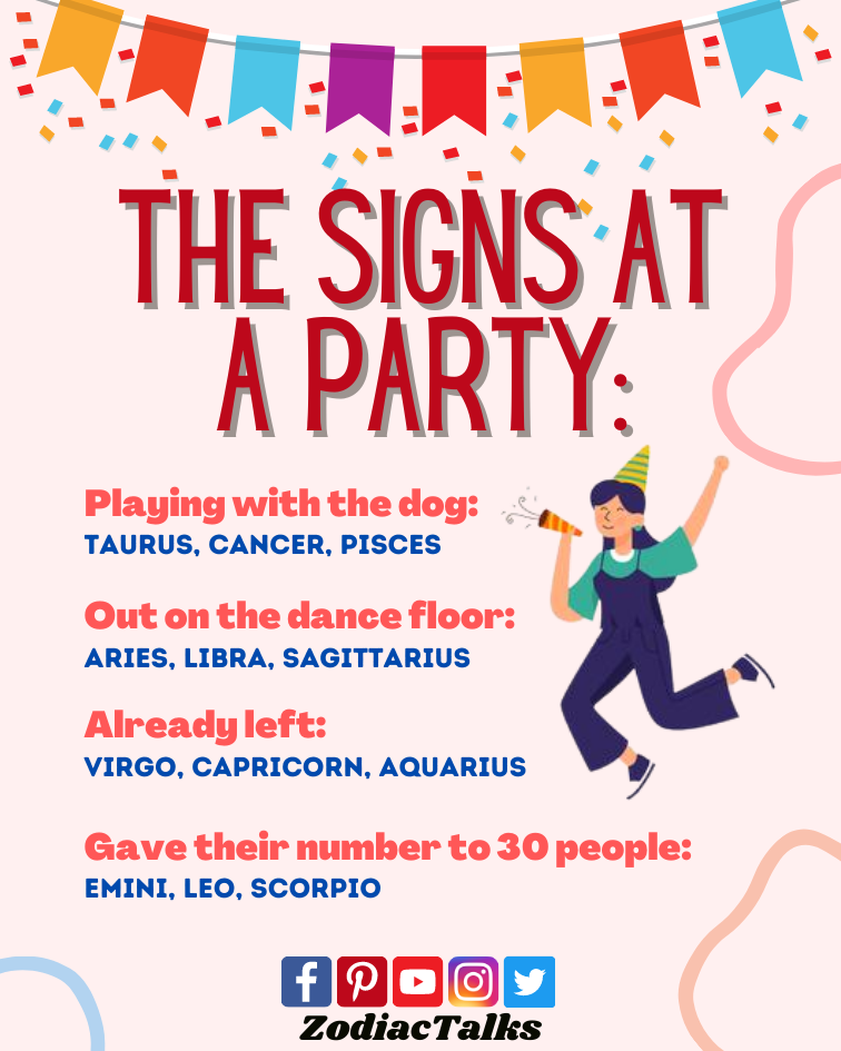 Zodiac Signs at a party