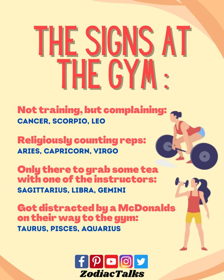 Zodiac Signs at gym