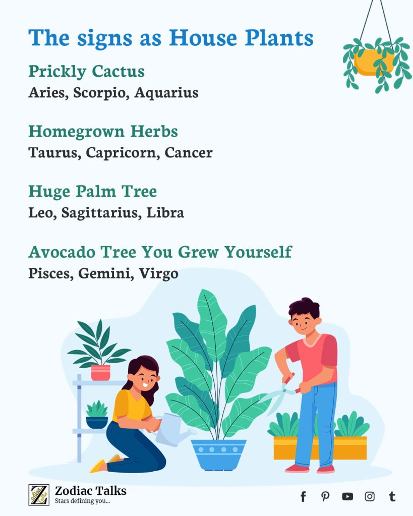Zodiac Signs as House Plants