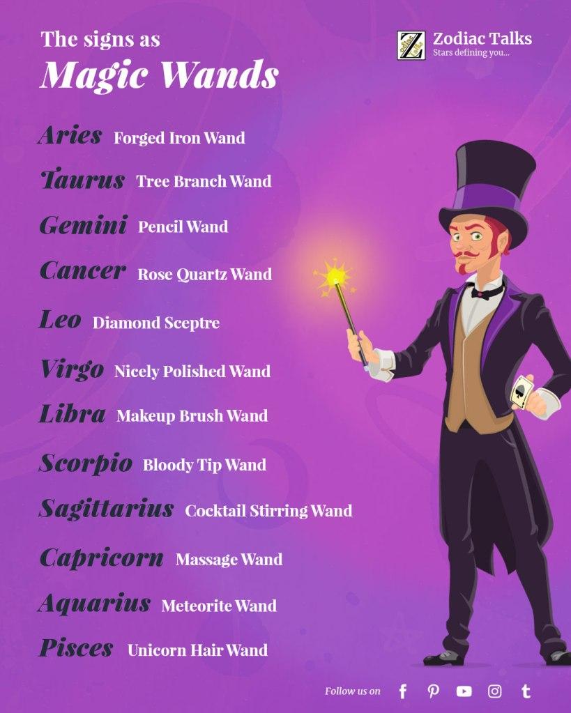 Zodiac Signs as Magic Wands