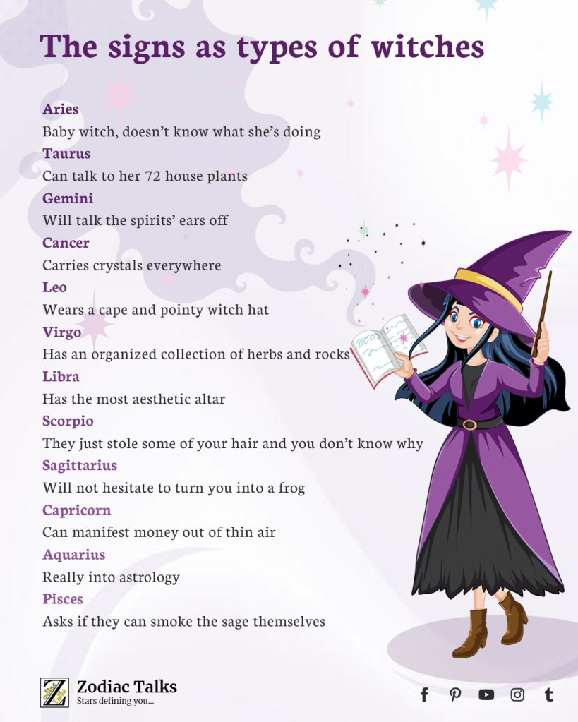 Zodiac Signs as witches