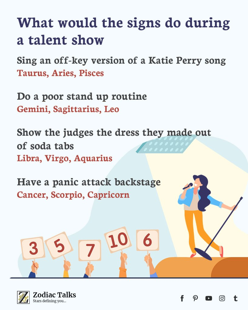 Zodiac Signs and talent show