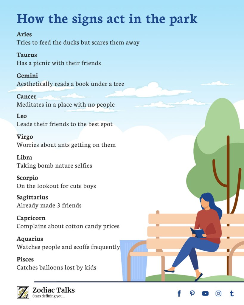 Zodiac Signs and park
