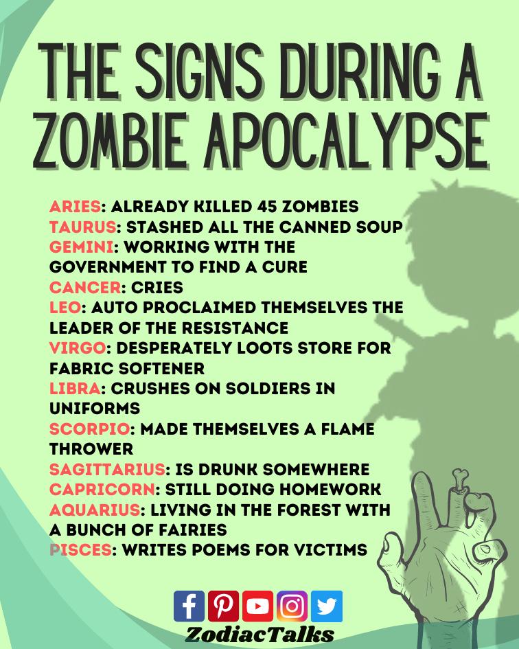 Zodiac Signs during a Zombie apocalypse