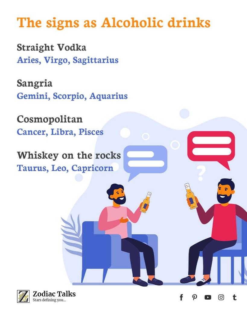 Zodiac Signs as alcoholic drinks