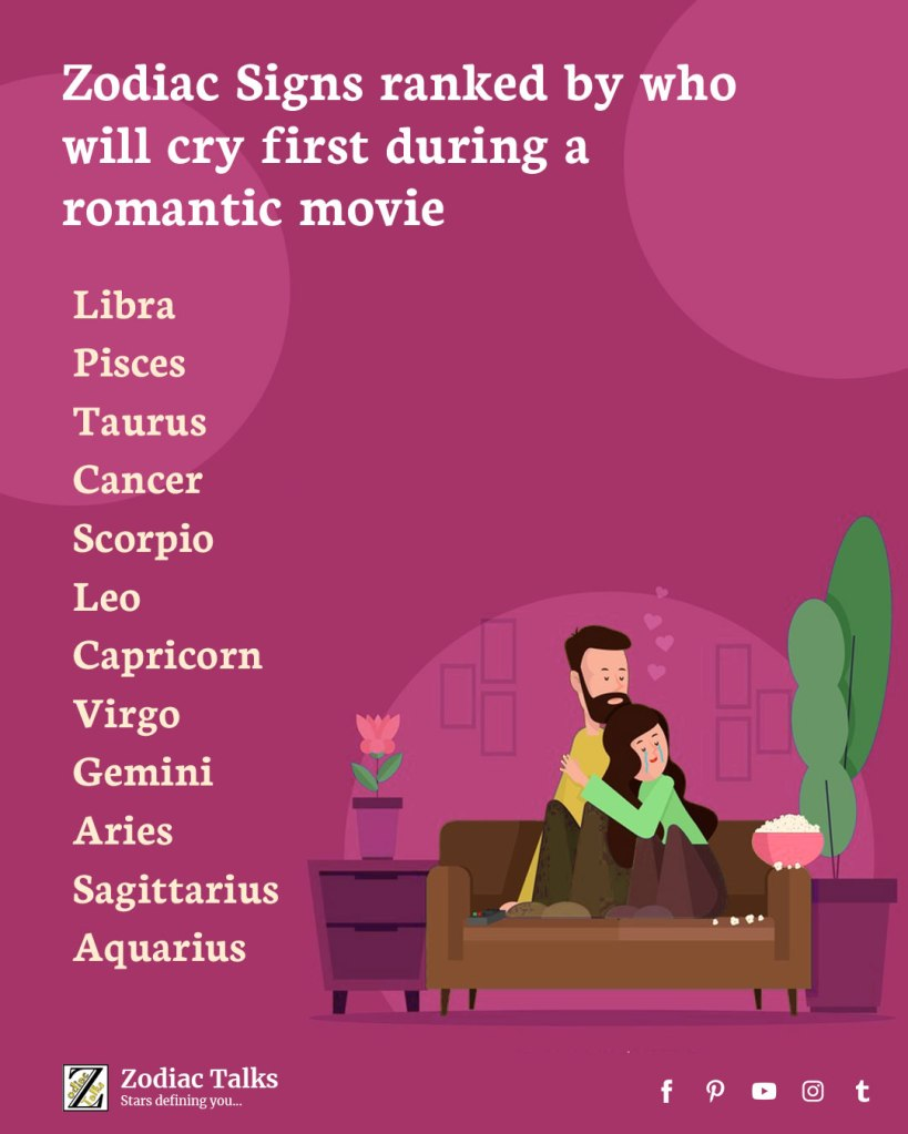 Zodiac Signs and cry during romantic movie