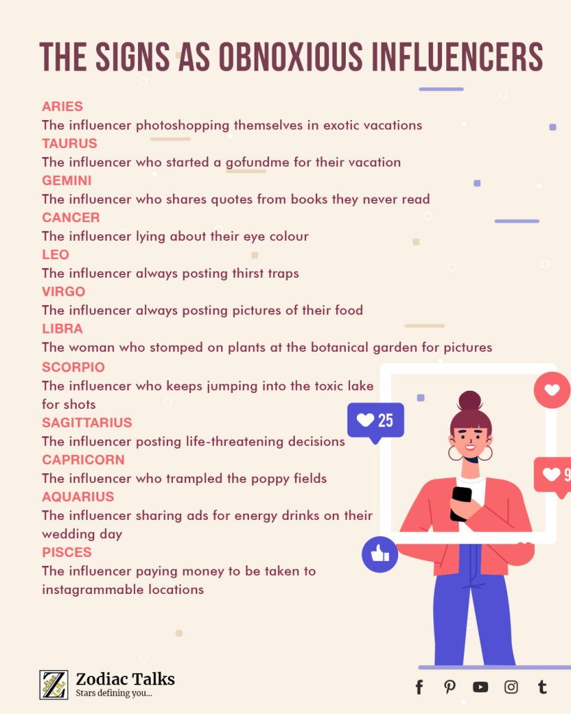 Zodiac Signs as influencers