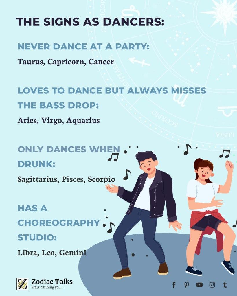 Zodiac Signs as dancers